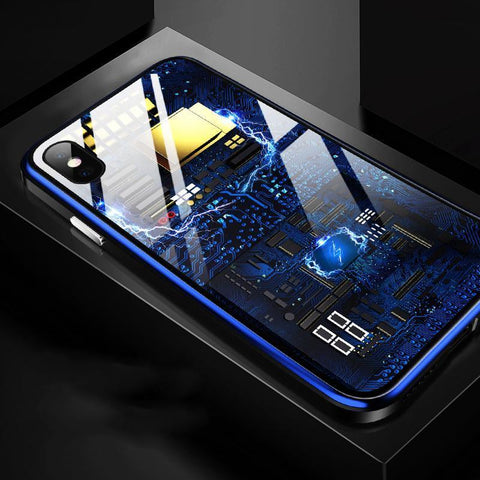 Image of Blue Integrated Circuit Pattern Clear iPhone case