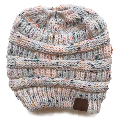 Beanie Crochet Knit Dotted Ponytail Hat For Women