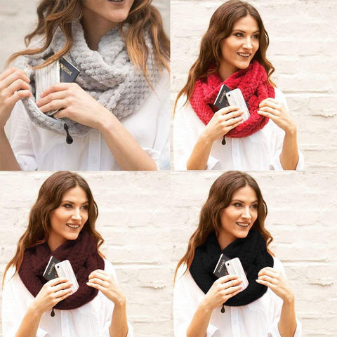 Image of Knitted Infinity Scarf With Pocket / Fleece Scarf