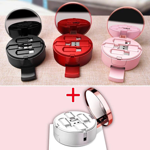 3 in 1 USB Retractable Cable With Mirror & Stand