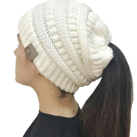 Image of Beanie Crochet Knit Ponytail Hat For Women