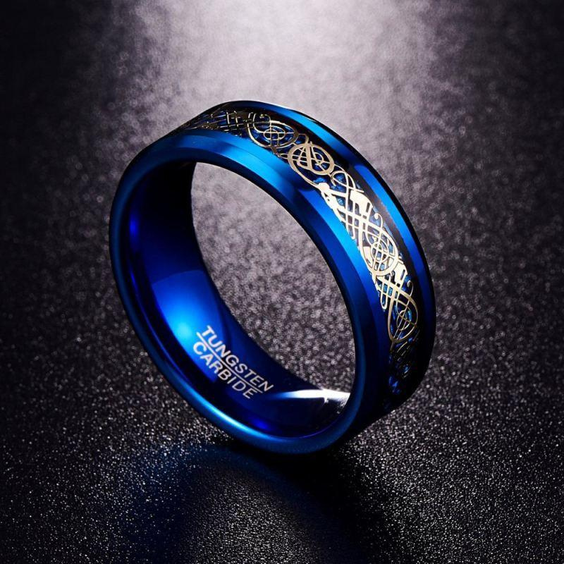 black and blue tungsten wedding band