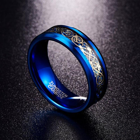 Image of black and blue tungsten wedding band