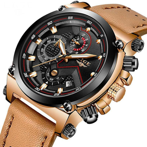 Leather Army Military Sports Watch