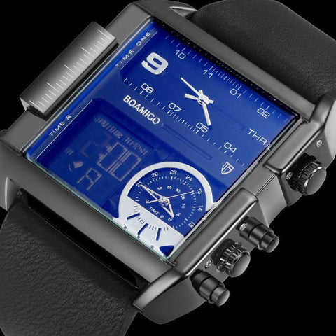 3 Time Zone Digital Rectangle Wrist Watch