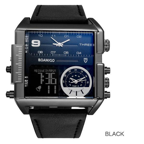 3 Time Zone Rectangle Wrist Watch