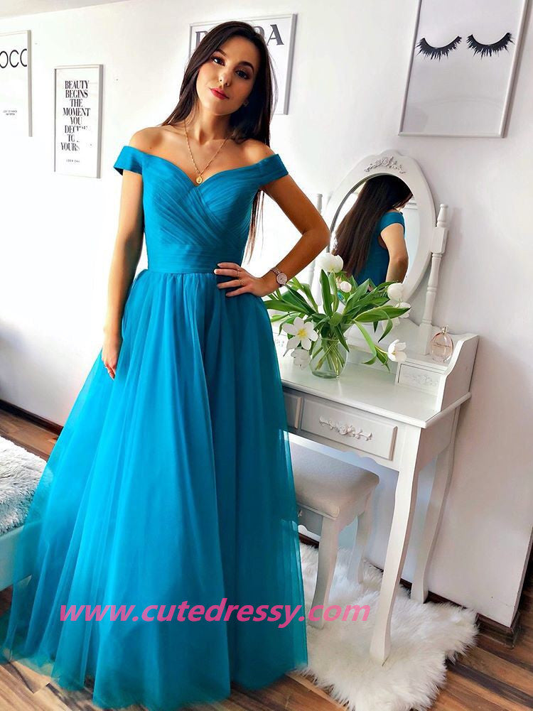 Beautiful Blue Tulle Off Shoulder A-line Gown