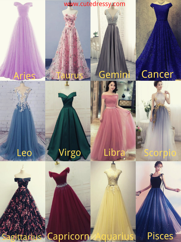Zodiac Signs as Long Prom Dresses