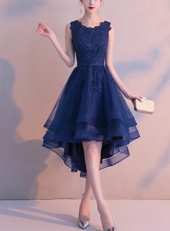Charming Blue High Low Round Neckline Stylish Party Dress