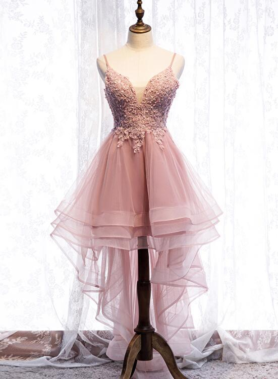 Straps Pink Homecoming Dress High Low Party Dress,