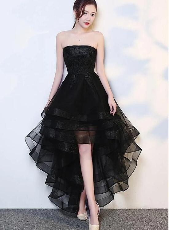 Black High Low Tulle And Applique Fashion Homecoming Dresses