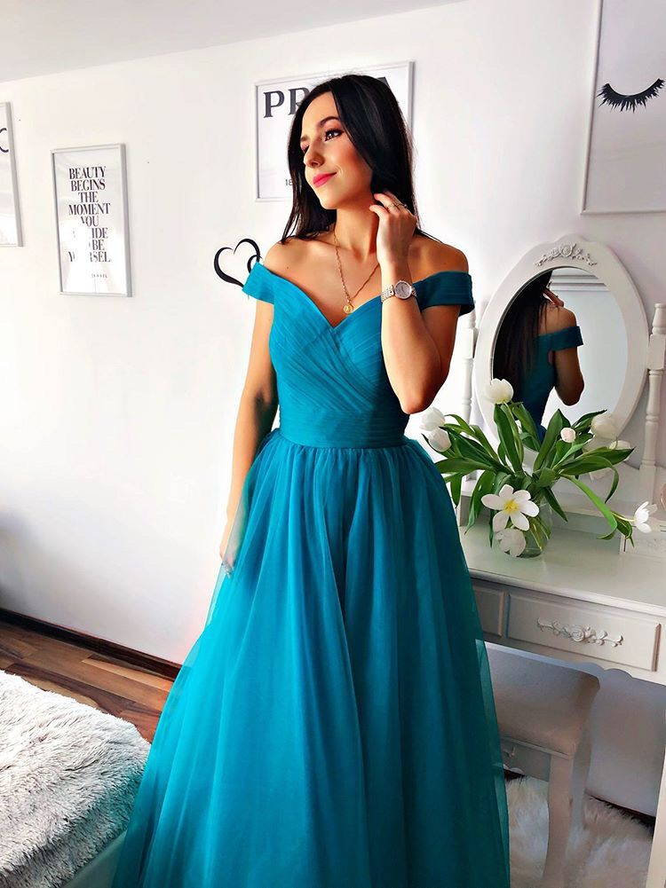blue tulle off shoulder gown