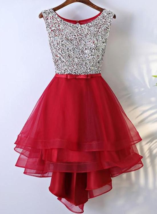 Beautiful Tulle Red Sequins High Low Party Dresses