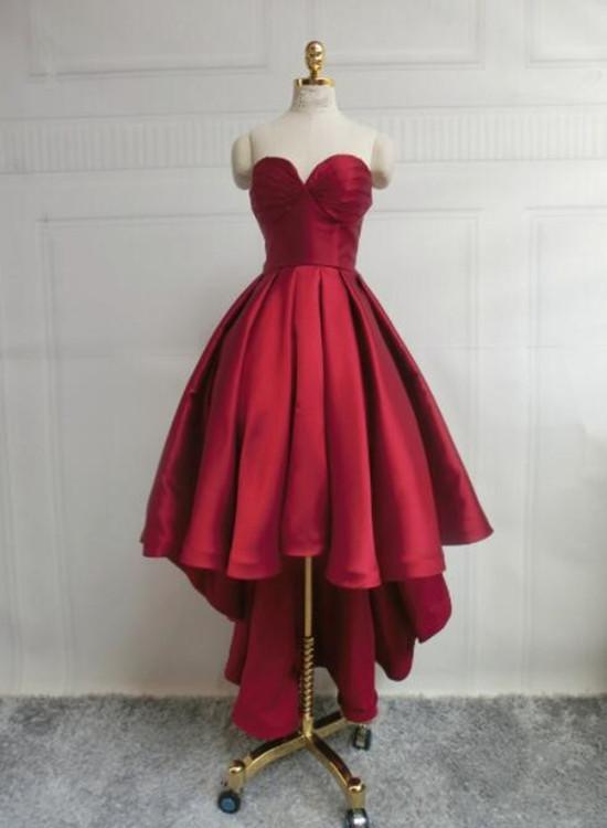 Wine Red Pretty High Low Party Dress
