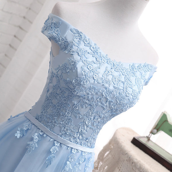 Light Blue Tulle Bridesmaid Dress, Cap Sleeves Short Bridesmaid Dress, Wedding Party Dress