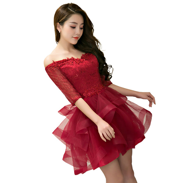 Charming Wine Red Short Sleeves Tulle Layer Party Dress, Homecoming Dress