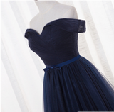 Charming Off Shoulder Navy Blue Long Bridesmaid Dress, A-line Prom Dress