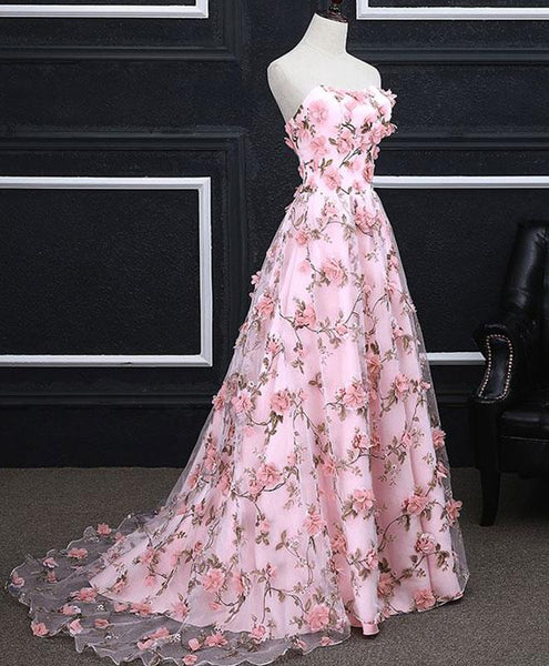 Pink Floral Lace Long A-line Prom Dress, Lace-up Party Dress