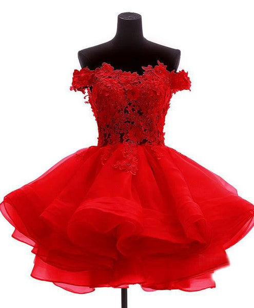 Red Homecoming Dress 2018, Short Classical Party Dress, Organza Party Dresses