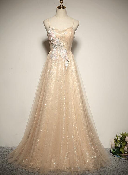 Beautiful Light Champagne Straps Long Bridesmaid Dress, A-line Formal Dress