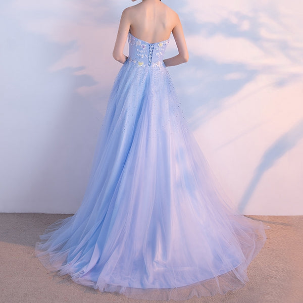 Light Blue Elegant Princess Prom Dress, Tulle Junior Prom Dress, Party Dress