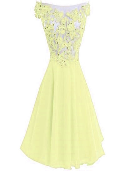 Light Yellow Round Chiffon Lace Applique Homecoming Dress, Lovely Short Party Dress, Formal Dress 2018
