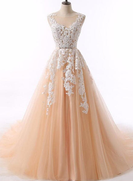 Elegant Lace Applique Party Gowns, Prom Dresses 2018, Champagne Gowns