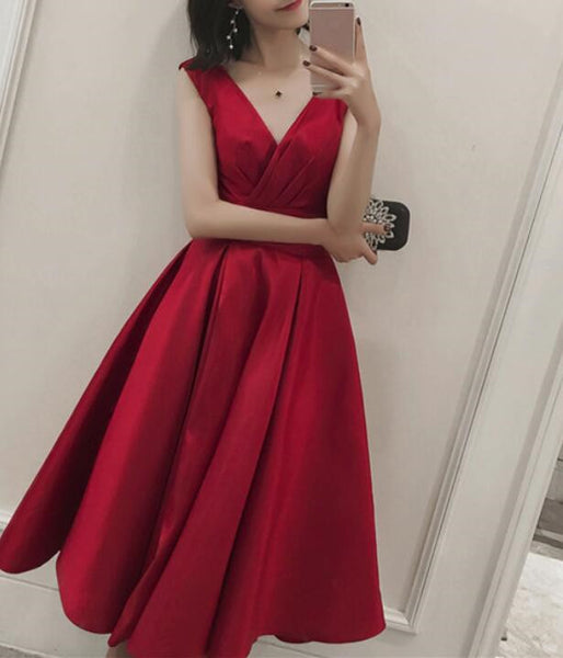 Red Satin Wedding Party Dress, Red Formal Dress, Satin Party Dresses