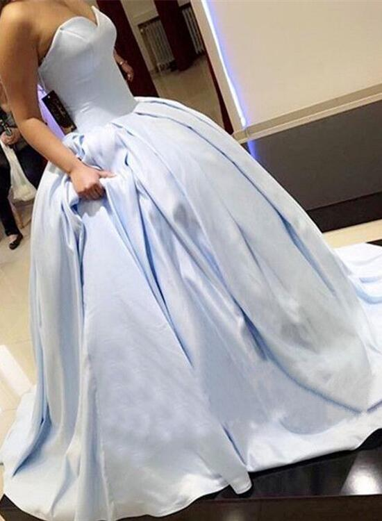 Blue Satin Ball Gown Formal Dress Gorgeous Party Gowns Light Blue