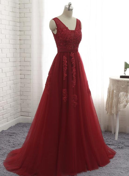 Tulle Prom Dress 2018, Dark Red Gowns, Tulle Formal Dresses 2018