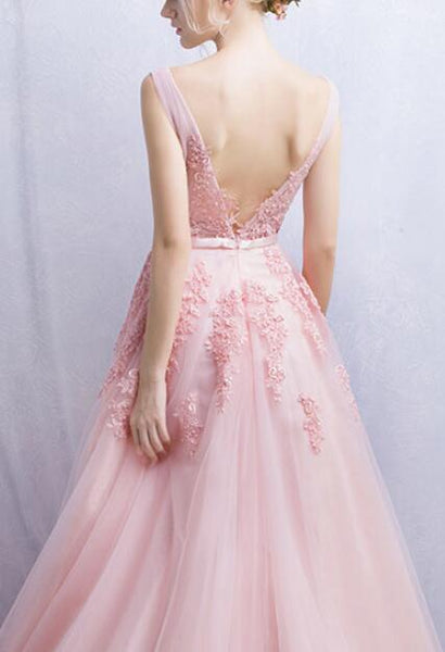 Pink Tulle Gown, Charming Teen Formal Dresses, Lovely Party Dresses