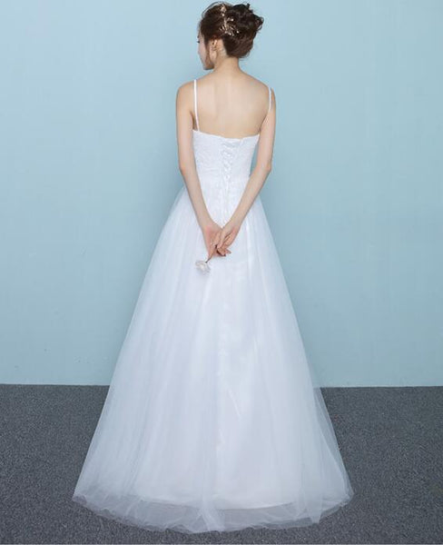 Simple White Tulle and Lace Straps Long Bridal Gown, Simple Wedding Dress, Beautiful Prom Gown