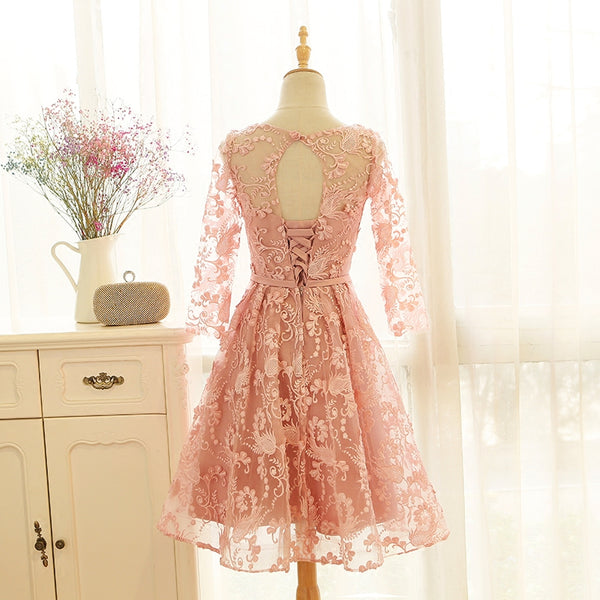 Pink Lace Short Prom Dress 2020, Long Sleeves Homecoming Dress
