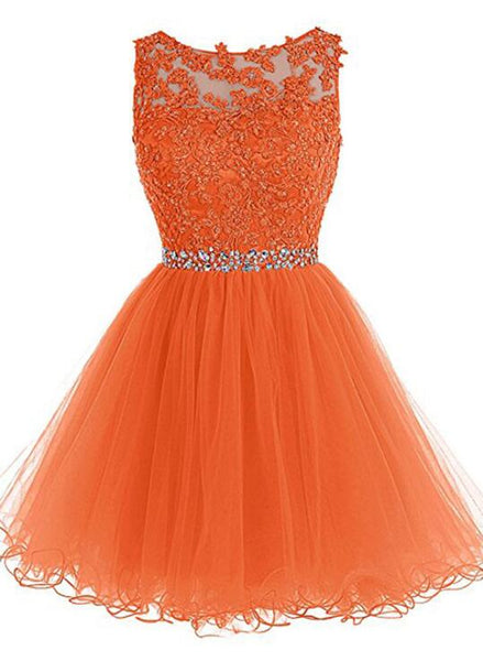 Round Neckline Orange Tulle Beaded Homecoming Dress, Short Party Dress Graduation Dress