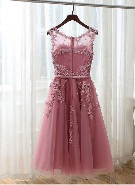 Pink Lace Applique Short Prom Dresses, White Graduation Dresses, Party Dresses 2018