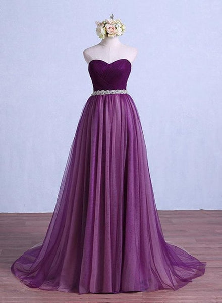 purple tulle long party dress with belt