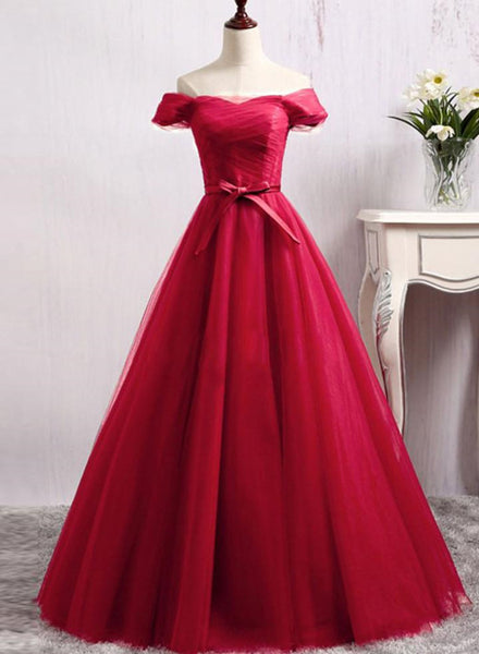 Red Floor Length Prom Gowns, Red Party Dresses, Red Tulle Party Dresses