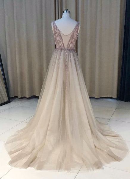 Unique Tulle V-neckline Beaded Long Party Dresses, See Through Prom Dresses 2018