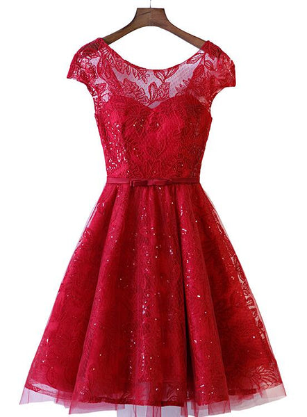 wine red lace party dress 2020