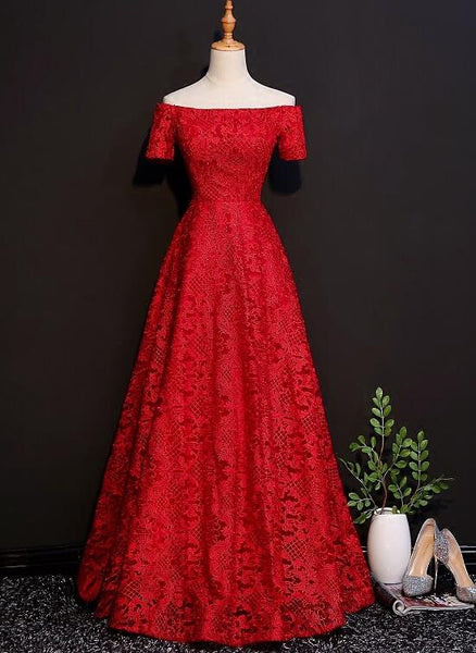 red lace long bridesmaid dress