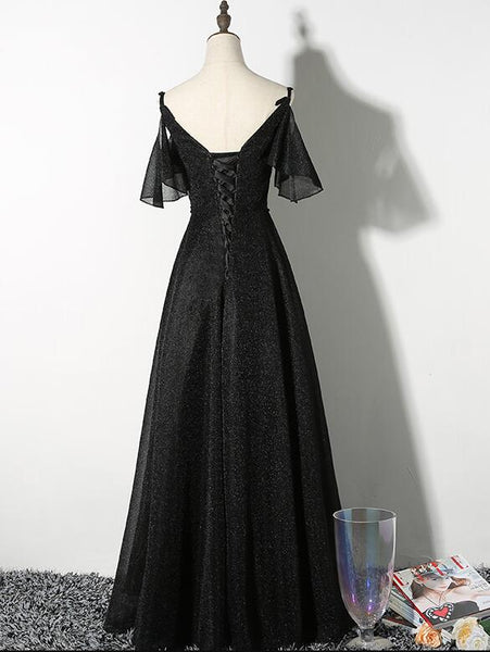 Beautiful Black Straps V-neckline Long Party Dress, Black Formal Gown