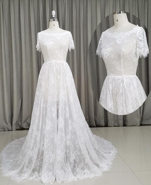 Beautiful Lace Ivory Short Sleeves See Through Wedding Dress, Long Party Dress