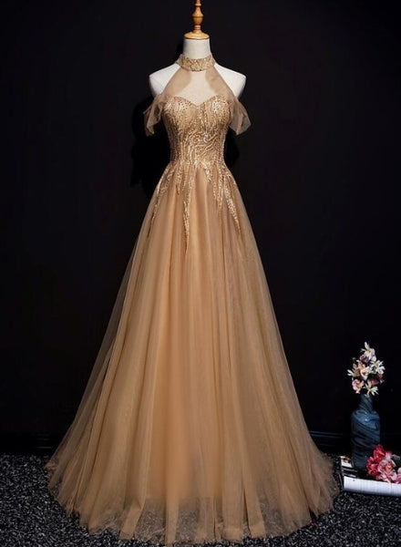 champagne tulle long prom dress