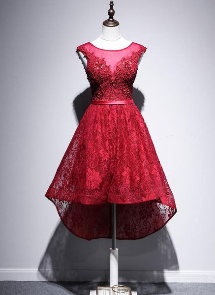 Beautiful High Low Lace Dark Red Party Dress, High Low Homecoming Dress