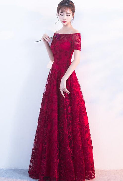 Beautiful Dark Red Lace A-line Long Bridesmaid Dress, Prom Dress 2020