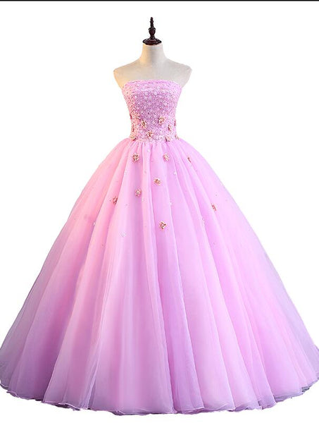 Pink Tulle Ball Gown Sweet 16 Party Dress, Pink Formal Dresses, Quinceanera Dress