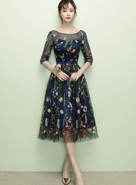 Lovely Navy Blue Lace Floral Knee Length Bridesmaid Dress, Blue Short Party Dress