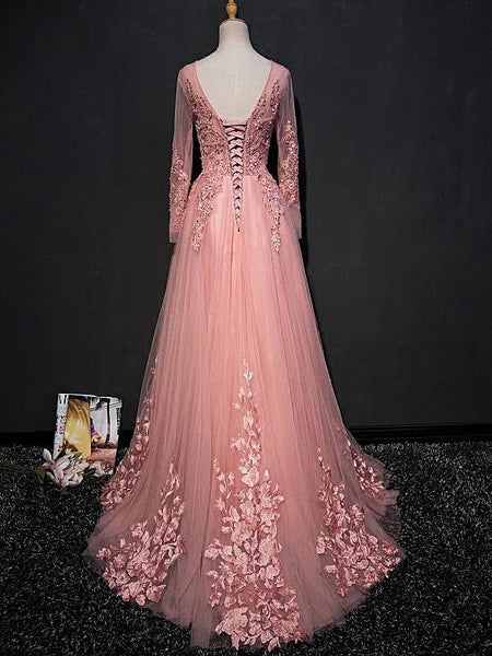 Pink Lace Applique Tulle  Floor-length A-line Prom Dresses, Long Sleeves Party Dress