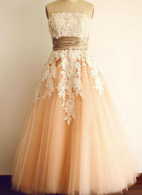 Pearl Pink Tulle Strapless Sleeveless Ankle-Length Tulle Prom Dress ...