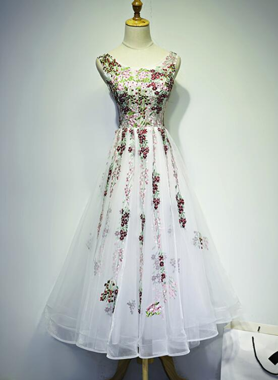 Beautiful White Tulle Floral Tea Length Party Dress, Cute Party ...